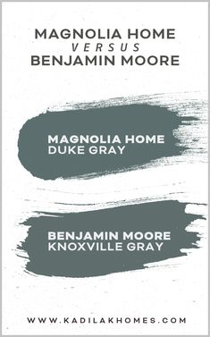 Magnolia Home Duke Gray vs Benjamin Moore Knoxville Gray Paint Color. Joanna's new paint line matched to Benjamin Moore. Save the pin for your reference and go paint! Magnolia Paint Colors, Fixer Upper Paint Colors, Magnolia Homes Paint, Matching Paint Colors, Green Paint Colors, Exterior Paint Colors, Gray Color, Magnolia Farms, Magnolia Green