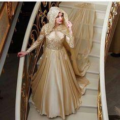 Cheap Moda musulmano champane abito da sposa a line maniche lunghe saudita…