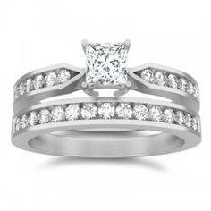 1 Carat Princess cut Diamond Affordable Wedding Ring Set On White Gold