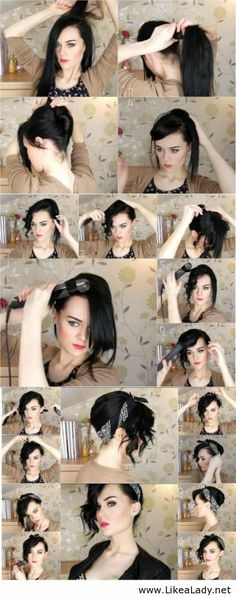 Easy updo hairstyle using a bandana