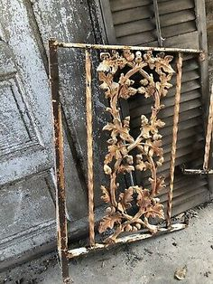 ANTIQUE CAST IRON Fence Window Side panels Step Old Architectural Hardware ACORN - $200.00 | PicClick