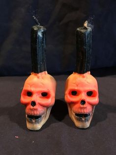 Estate Find Vintage Gurley Halloween CandlesSkulls standing from Halloween News, Halloween Season, Halloween Skull, Holidays Halloween, Vintage Halloween, Holiday Candles, Halloween Candles, Autumn Lights, Vintage Fall
