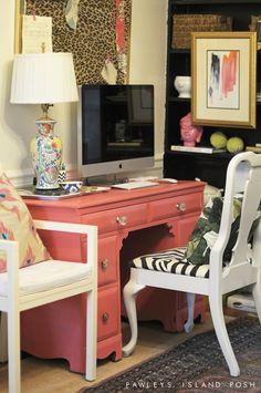 coral desk black shelves, modern art, chinoiserie, ikat pillow, banana leaf pillow, rug, leopard, zebra, bookshelf styling, desk, Pawleys Island Posh  Pawleys Island Posh