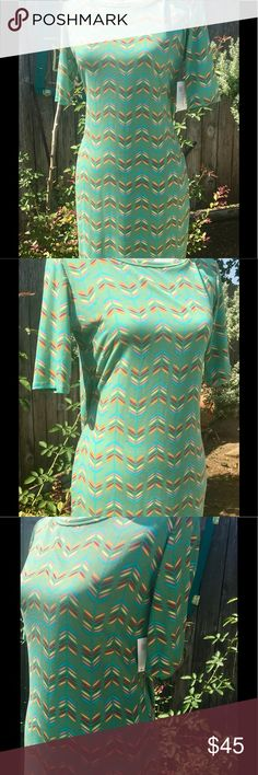 NWT LuLaRoe Julia Adorable Julia with chevron design in multi color. Light green background. Super soft material. Tags still attached. LuLaRoe Dresses Midi