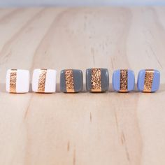 NEW Copper Stripe Square Studs - Polymer Clay Earrings