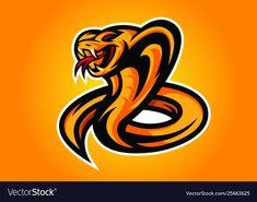 Snake-kingcobra-yellow-modern-logo vector image on VectorStock Fire Snake, Profile Logo, Cobra Snake, Esports Logo, King Cobra, Animal Logo, Modern Logo, Art Logo, Adobe Illustrator