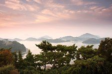 A pre-sunrise view from Dala Park on Mireukdo (Mireuk Island) in Tongyeong City, Gyeongsangnam-do Province, Korea