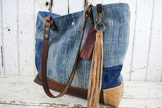 WEST AFRICAN INDIGO Cloth Leather Tote  Bag Purse Repurposed