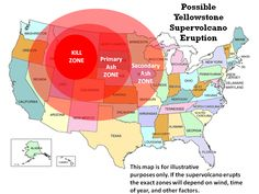 Map showing possible scenario if the Yellowstone supervolcano erupted.