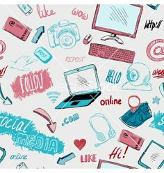 Seamless doodle social media background vector by macrovector on VectorStock®
