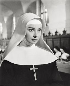 The British actress Audrey Hepburn acting in the film 'The Nun's story' by Fred Zinnemann 1959