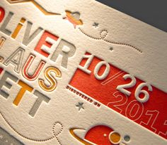 Letterpress birth announcement | Designer: Greg Bennett - http://www.worktodate.com | Printer: Gilah Press - http://www.gilahpress.com