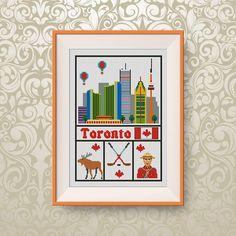 BUY 2, GET 1 FREE! Toronto cross stitch pattern, Instant Download, Travel cross stitch pattern, pdf, Canada cross stitch pattern, #P282 by NataliNeedlework on Etsy