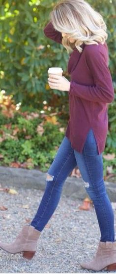 #fall #fashion / burgundy + denim