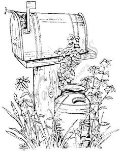 I love countryrustic looking designs! Northwoods Rubber Stamps – Rural Mailbox Source by lokeetah Fall Coloring Pages, Adult Coloring Book Pages, Free Coloring, Coloring Sheets, Coloring Books, Wood Burning Patterns, Wood Burning Art, Pencil Drawings, Art Drawings