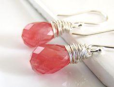 Honeysuckle Pink Glass Earrings, Teardrop Earrings, Pink Earrings, Bubblegum, Gifts For Her, Sterling Silver, Wire Wrapped on Etsy, $32.00