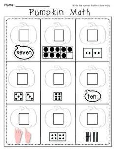 Pumpkin Math 5 Workpages. Number Work for Kindergarten.  $