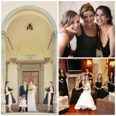 Long black bridesmaids gowns help complete an elegant look for this bride s  dream wedding Abiti Per 6b973c3b09f2