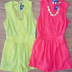 I like the pink romper a lot and wedges and jewelry..cute!