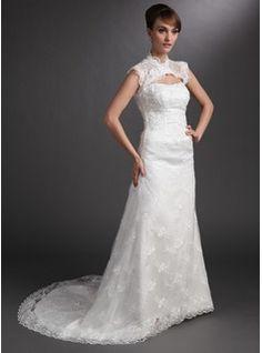... Chapelle Satin Tulle Robes de Mariée avec Dentelle Perlé (002000178