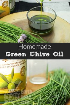 A quick recipe for flavored chive oil. An easy way to preserve your herbs for the Fall and Winter seasons, this chive oil is great in marinades and vinaigrette. #chives #oil #diy #condiments
