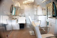 Inside Of Airstream Camper   Old Awesome Airstream Turned Into Mobile Hair Salon