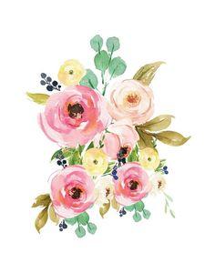 Nursery Print Set Sweet Dreams Set of 3 Prints Triptych Art Floral, Motif Floral, Watercolor Cards, Watercolor Flowers, Watercolor Paintings, Watercolour, Flower Prints, Flower Art, Art Original
