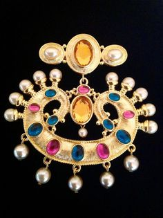 KJL KENNETH JAY LANE MULTI COLOR CABOCHON PEARL PENDANT BROOCH PIN GOLD PLATED…