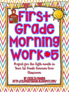 This morning work is designed for the fifth month of first grade. It meets many Common Core Standards. For Math, it addresses 1. O.A.,1. N.B.T, I.M.D. and 1.G. For the language arts Common Core ELA Standards, this month's morning work addresses 1R. F. S. 1, 1R. F. S. 3, and 1R. F. S. 4.