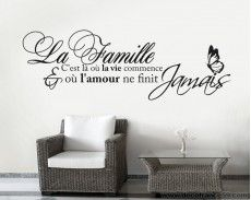 sticker mural citation la famille citation pinterest peintures murales. Black Bedroom Furniture Sets. Home Design Ideas