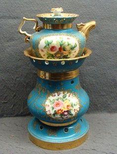 Antique French Old Paris Porcelain Marked JP Porcelain Veilleuse Teapot C 1810