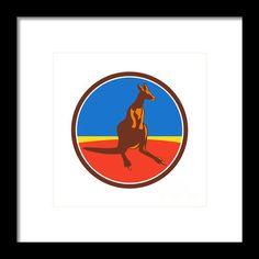 Kangaroo Circle Retro Framed Print By Aloysius Patrimonio