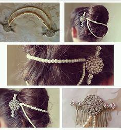 Bridal Ivory Draping Pearl Diamante Double Hair Comb Forehead Bun Wrap Boho Vintage on Etsy, $60.33