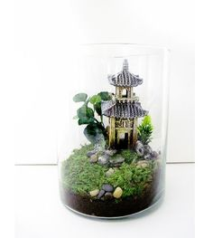 Oriental-themed terrarium.