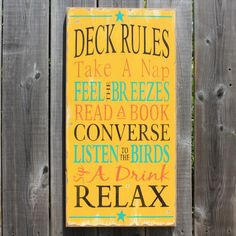 Deck Rules~made by The Primitive Shed, St. Catharines