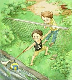 Oikawa chan and iwaizumi chan as young children retrieving a volleyball that fell into the stream by the park they played at.