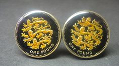Great British  coin cufflinks pound english lions by wowcoin, $55.00