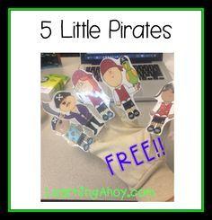 5 little pirates (freebie) Preschool Pirate Theme, Pirate Activities, Preschool Themes, Preschool Lessons, Pirate Songs For Kids, Kindergarten Themes, Preschool Songs, Kids Songs, Daycare Themes