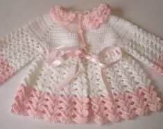 Items similar to Crochet Baby Set Sweater Cardigan Booties and Hat White Pink Satin Ribbon Christening Baptism Baby Girl Baby Shower Gift Handmade by Hallien on Etsy Crochet Toddler Dress, Crochet Baby Cardigan, Baby Girl Crochet, Crochet Bebe, Crochet Baby Clothes, Sweater Cardigan, Baby Girl Patterns, Baby Knitting Patterns, Crochet Patterns