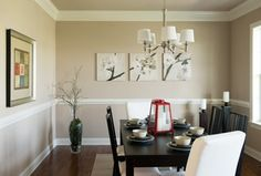 Contemporary Dining Room with Hampton Bay 5-Light Brushed Nickel Chandelier with White Fabric Shades, Hardwood floors