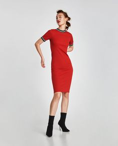 Imagen 1 de VESTIDO RIB COLOR de Zara Zara Mode, Ribbed Dress, Zara Fashion, Keep Fit, Zara United States, Bodysuit, High Neck Dress, Dresses For Work, My Style