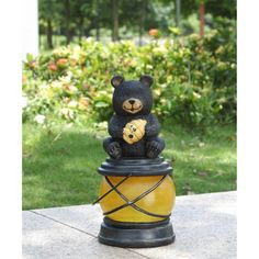 Hi Line Gift Ltd. Bear Sitting With Bee Hive And A Bee On Lantern