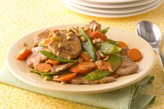 Create a better-for-you dish with our Stir-Fry of Pork, Mushrooms and Snow Peas. Stir-Fry of Pork, Mushrooms and Snow Peas is a great weeknight dish. Kraft Foods, Kraft Recipes, Stir Fry Recipes, Pork Recipes, Asian Recipes, Cooking Recipes, Healthy Recipes, Ethnic Recipes, Asian Foods