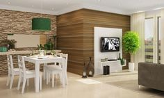Sala de Estar Conjugada com Sala de Jantar com Painel para TV, Nicho, Mesa e 4 Cadeiras Branco/Bege - Caaza