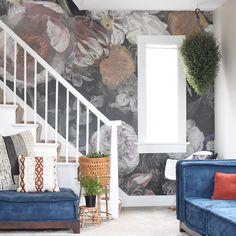 Stairs, Bloom, Design Ideas, Inspirational, Interiors, Interior Design, Living Room, Dark, Wallpaper