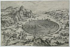 Hieronymus Cock (Flemish, ca. 1510-1570), The Cretish Labyrinth, from the suite Landscapes with Biblical an Mythological Scenes, 1558, etching on paper