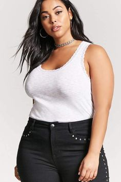 d6dda321e0e Forever 21 FOREVER 21+ Plus Size Lace-Trim Ribbed Tank Top Navy Jacket