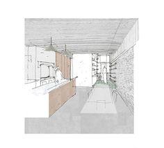 illustrative sketch + digital colour - proposed kitchen + garden room - House for Two Artists - Gort Scott - XXXX Architecture Graphics, Classical Architecture, Architecture Plan, Interior Architecture, Architecture Collage, Architecture Visualization, Interior Design Sketches, Interior Rendering, Interior Design Studio