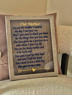 Mother-in-law gift You are the Mother I received the day I wed your son Mother gift Mother's Day gift Mother Christmas gift Mother Picture by ArtsyWallsAndMore on Etsy