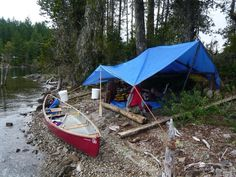 Tarp tent on Great Central Lake Vancouver Island.